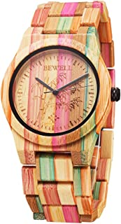 Handmade Colorful Bamboo Wood Watch Analog Quartz Fashion Wristwatch with Mix Colors