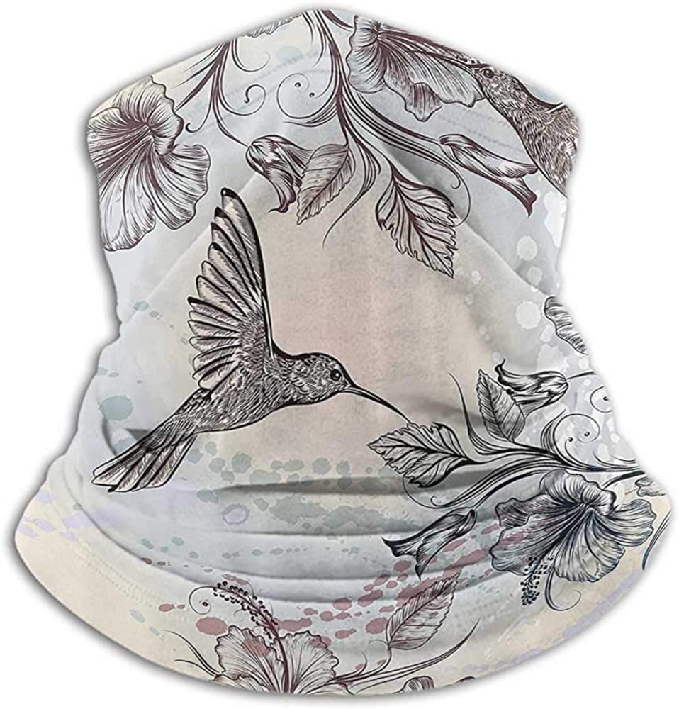 Neck Gaiter Women Hummingbirds Decorations For Dust, Outdoors, Festivals, Sports Birds And Hibiscus Flowers Nostalgia Antique Artistic Design Classic Home Teal Brown