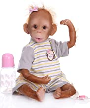 WHER 48cm Realistic Reborn Doll Soft Silicone Vinyl Monkey Lifelike Handmade Toy Children Birthday Gifts,for Ages 3+