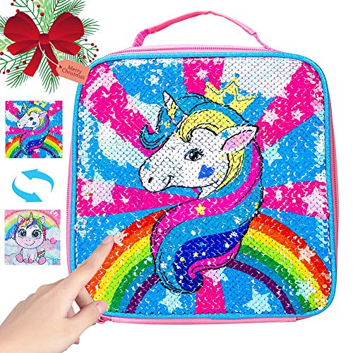 Unicorn Lunch Box for Girls, Sequin Lunch Bag