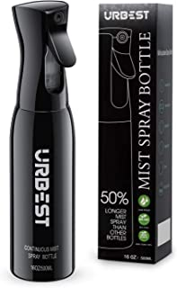 Hair Spray Bottle 16 OZ-Continuous Water Mister Spray Bottle Empty-Fine Mist Salon Spray Bottles-360 Bottle Sprayer for Travel,Barber Hair Styling,Plants, Cleaning, Misting & Skin Care-Black