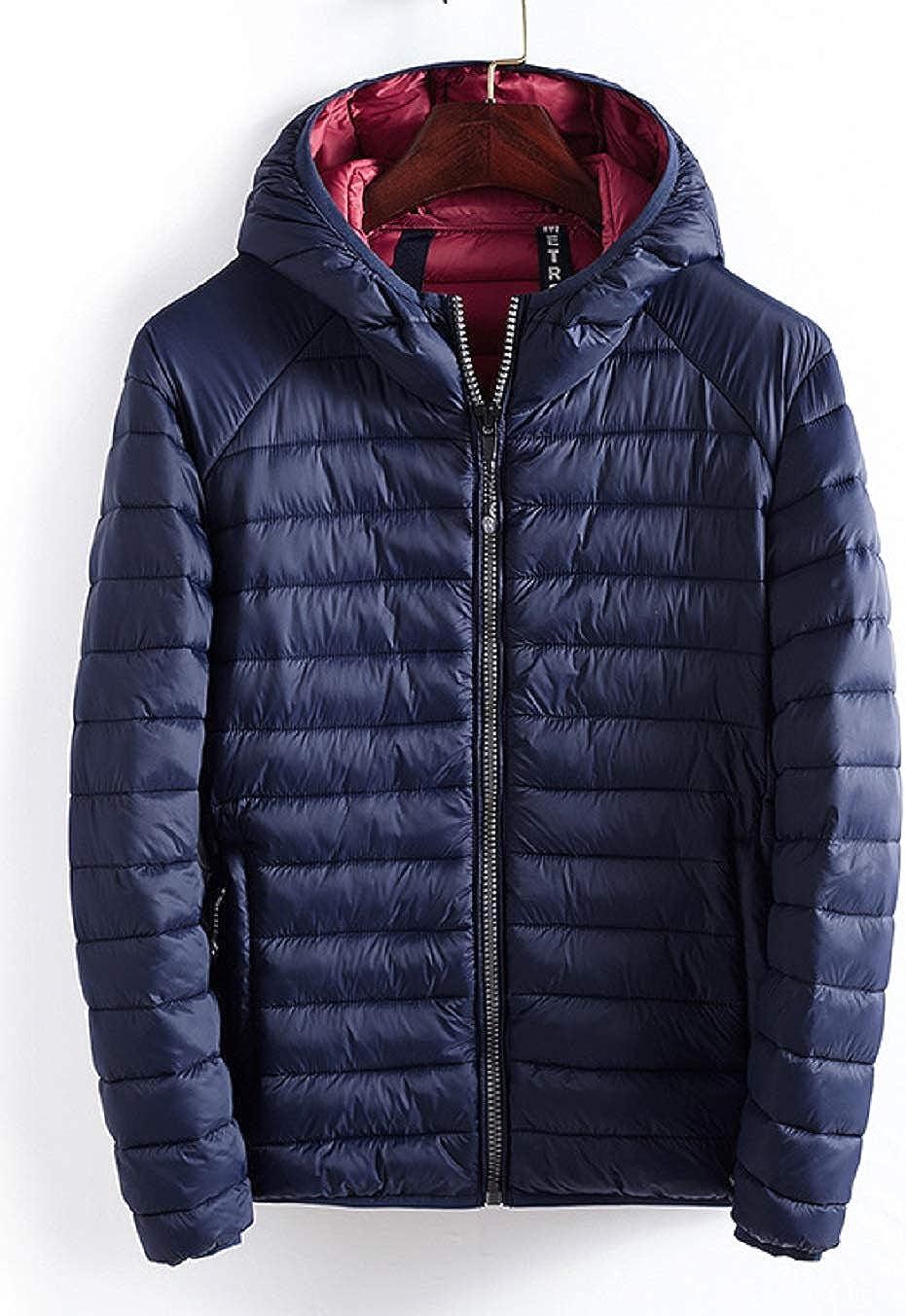 CHARTOU Men's Lightweight Packable Chevron Quilted Puffer Down Alternative Jacket