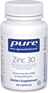 Pure Encapsulations - Zinc 30 - Zinc Picolinate (30 mg.) Highly Absorbable Hypoallergenic Supplement for Immune Support - 180 Capsules