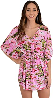Island Style Clothing Ladies Kaftan Poncho Dress Flamingo Floral Womens Swimsuit Beach Cover-Up, OS