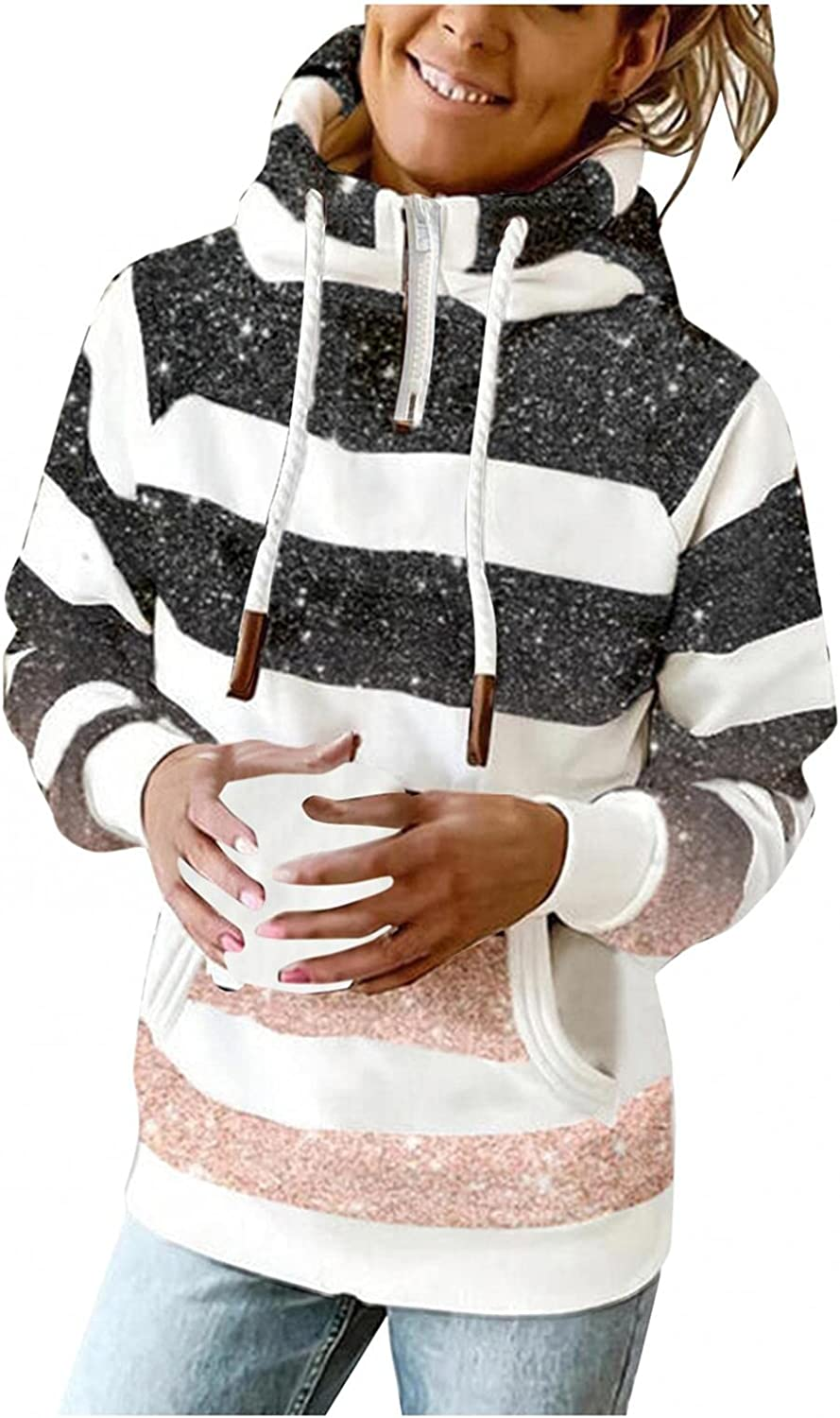 FABIURT Hoodies for Women, Womens 1/4 Zip Up High-Necked Hoodies Fashion Striped Casual Loose Fit Long Sleeve Tops Pullover