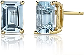 14K Yellow Gold Emerald Cut 1.75 Carats Aquamarine Stud Earrings