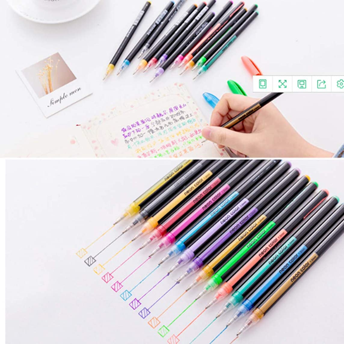 ViShow Bullet Journal Colored Pens Set,16 Assorted Colors Fineliner Pens,Perfect for Bullet Journal Planner Writing Note Calendar Coloring Art Office School Supplies (Multicolor)