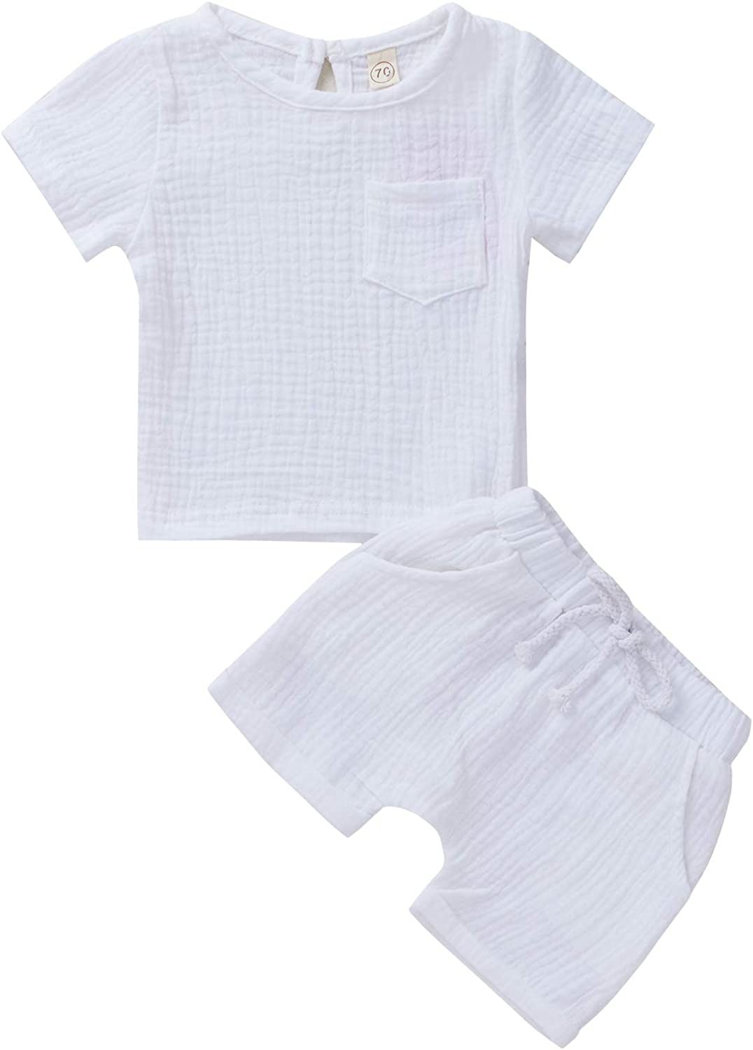 Booraho Newborn Baby Clothes Unisex Set Solid Color Short Sleeve T-Shirt Tops Shorts Pant 2PCS Outfits