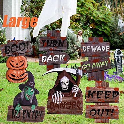 Halloween-Dekorationen, Outdoor-Schilder, groß, Vorsicht, Warnung, Gartenstecker, Schild für Halloween, Garten, Rasen, Dekorationen, Halloween, Party-Zubehör, 6 Stück