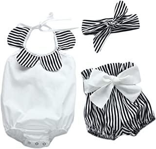 Magical Baby Baby Girls Halter Backless Bowknot Ruffle Romper and Shorts Outfits Set with Headband