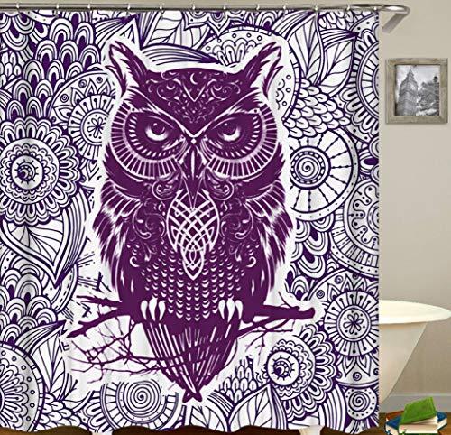 JgZATOA Animal Bird Douche Gordijn Waterdicht Uil Gordijn Polyester Gordijn Badkamer Decoratie Set Met Haak 180X200Cm