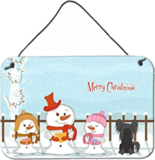 """Caroline's Treasures BB2443DS812 Merry Christmas Carolers Chinese Crested Black Wall or Door Hanging Prints, 8"""" x 12"""", Mul..."""