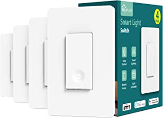 Smart Light Switch, Treatlife 2.4Ghz Smart Switch Wi-Fi Light Switch, Neutral Wire Required, Works with Alexa, Google Assistant and IFTTT, Single-Pole, Schedule, Remote Control, ETL Listed, 4 PACK