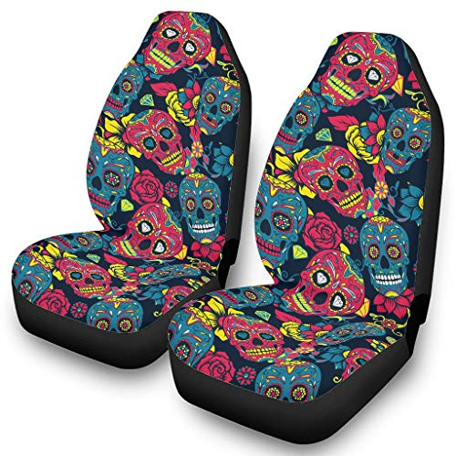 Car Seat Covers Universal Seat Covers Set Front Seat Covers Sugar Skull Gothic 3D Print Car Seat Covers Seat Cover Car Accessories Interior White One Size