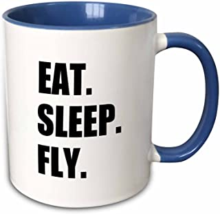 3dRose 180404_6 Eat Sleep Fly - Fun Gifts For Pilots Flight Crew And Frequent Flyers Two Tone Mug, 11 oz, Blue