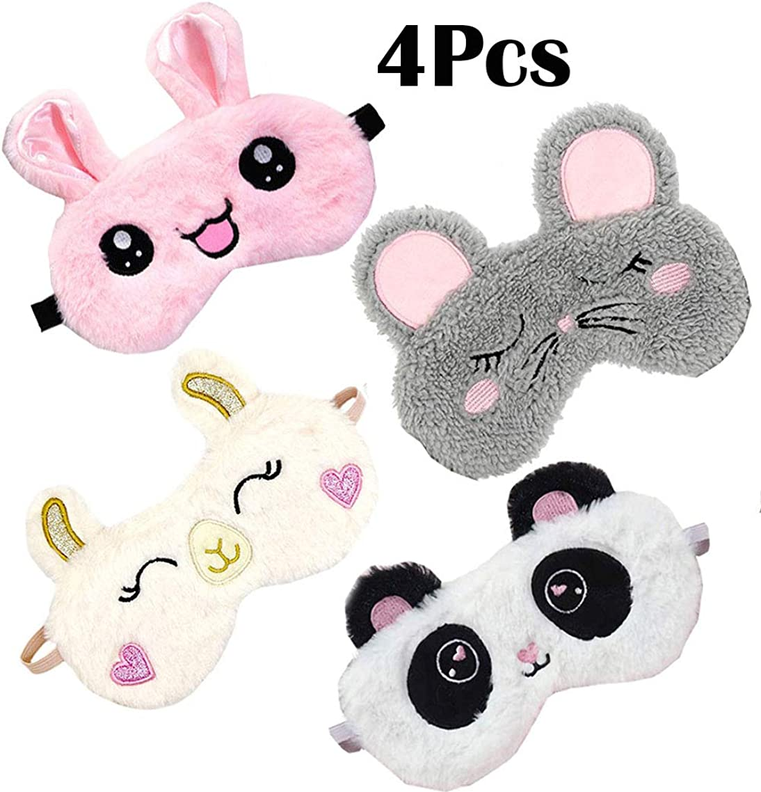 4 Pack Cute Animal Sleep Mask for Girls Soft Plush Blindfold Cute Rabbit Panda Alpaca Mouse Sleeping Masks Eye Cover Eyeshade for Kids Teens Girls Women Plane Travel Nap Night Sleeping
