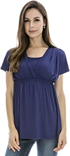 Bearsland Women's Maternity Shirt Nursing Tops Modal Comfy Breastfeeding Dress