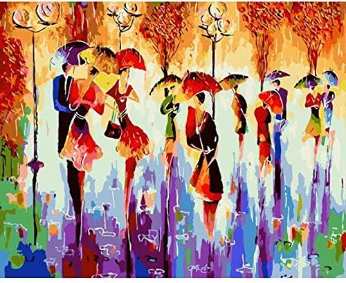 Pintura por número niños bailarines abstracto DIY pintura al óleo lienzo pintura digital adultos principiantes -40x50cm