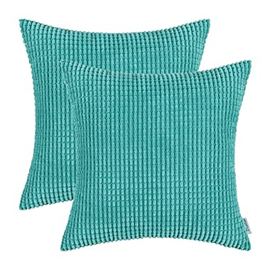 CaliTime Pack of 2 Comfy Throw Pillow Covers Cases for Couch Sofa Bed Comfortable Supersoft Corduroy Corn Striped Both Sides 18 X 18 Inches Turquoise
