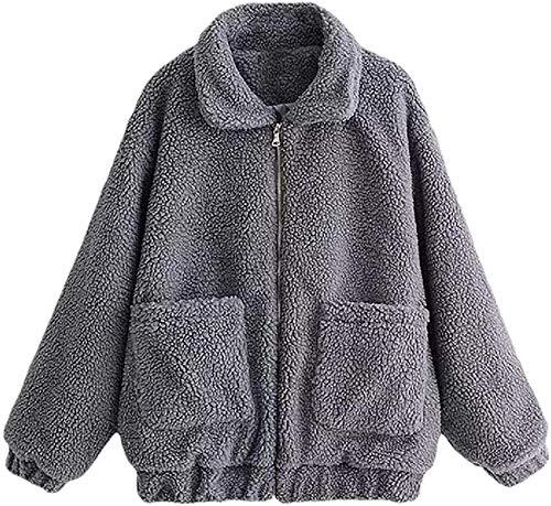 Womens Faux Shearling Jacket Lapel Fleece Fuzzy Jacket Shaggy Jacket Fashion Cardigan Coat