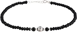 DARSHRAJ JEWELLERS 925 Sterling Silver Designer Black Crystal Beads Anklet With Silender Ball Beads For Girls And Women(4....