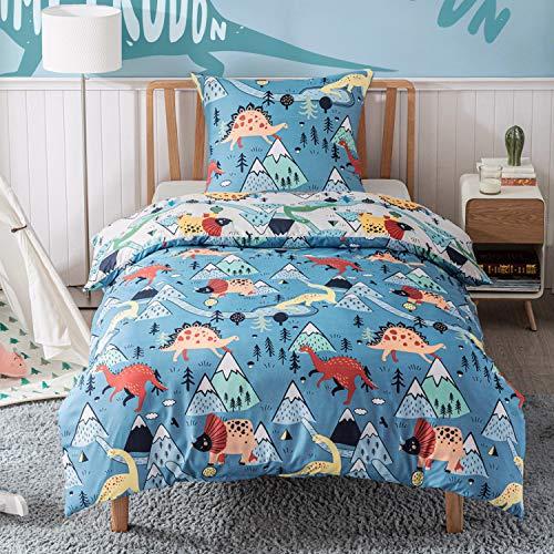 Bedsure Bettwäsche Kinder 135x200 Kinderbettwäsche jungen 135 x 200 cm, Bettwäsche Dinosaurier Muster mit Reißverschluss, Dino Baby Bettwäsche aus Mikrofaser mit 80x80 cm Kissenbezug