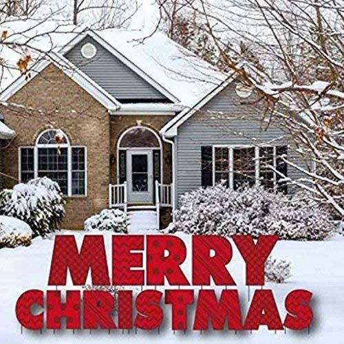 VictoryStore Yard Sign Outdoor Lawn Decorations: 'Merry Christmas' Yard Sign Letters, Includes 2 Stakes Per Letter