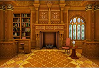 YongFoto 12x8ft Yellow Indoor Room Backdrop Study Living Room Photography Background Fireplace Desk Bookcase Party Banner Interior Decoration Kids Student Adult Portrait Studio Props Wallpaper