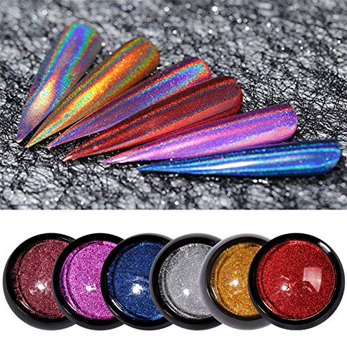 Nail Titanium Powder 6 Colors Jar Mirror Optical Metal Electroplating Chrome Powder Manicure Dust Set Art Decoration