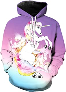KIDVOVOU Boys Girls 3D Galaxy Unicorn Print Sweatshirts Pullover Kids Hoodies with Pocket 3-12Y