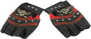 Half Finger Gloves with Skull Marker, Black-Red