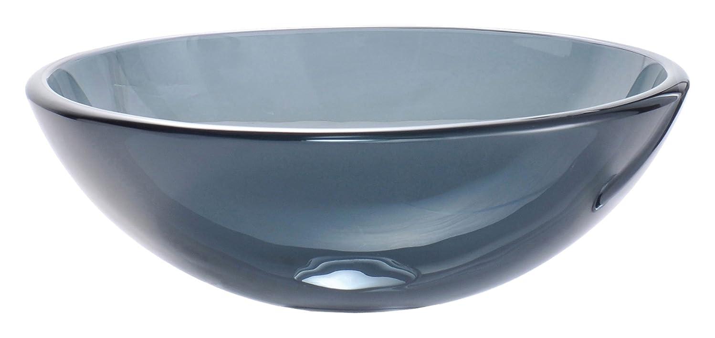 Kraus GV-104-CH Clear Black Glass Vessel Bathroom Sink with PU-MR Chrome