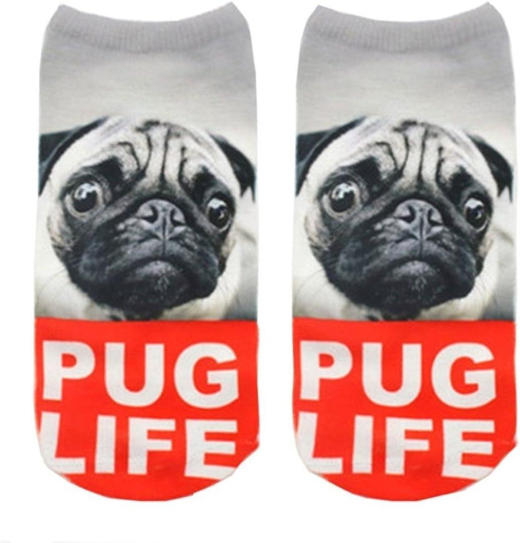 Doxi New 3D Printed Animal Cute Low Cut Ankle Socks Harajuku Style Pug Life