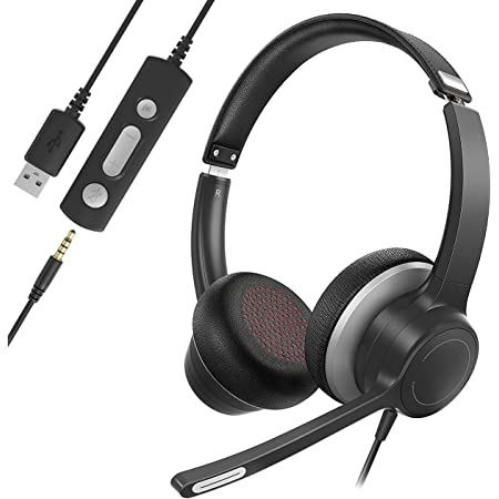 Soulsens USB Headset with Microphone, Noise Cancelling 3.5mm Computer Headphones, Breathable Earmuffs, 270 Degree Boom Mic, Wired Headset with Microphone for Laptop, Tablet, Chromebook, Cell Phone