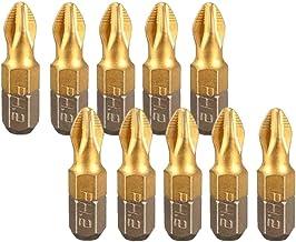 ZHTY 10 PCS 25MM Puntas de Destornillador Antideslizantes de Cabeza chapada en Titanio Tornillo de Cabeza de Seguridad de Ciruela para Destornilladores Taladros eléctricos manuales