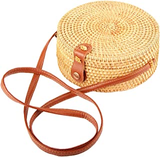Rattan bag Round Crossbody Woven Bag Bali Beach Circle Tote Bag for Women (Leather buckle 2)