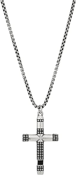 Steve Madden Stainless Steel Leather Cross Necklace