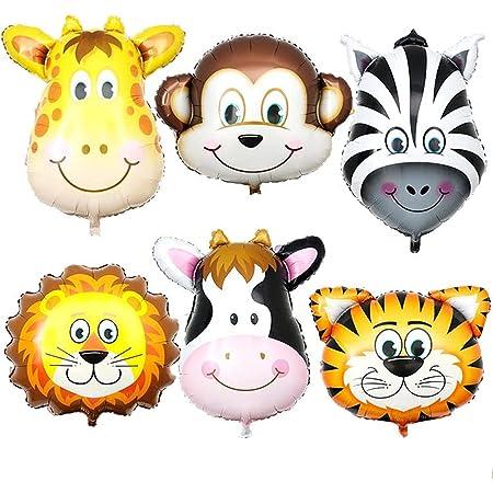 GrandShop 50611 Jungle Theme Animal Balloon (Pack of 6 pcs)