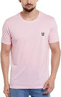 VIMAL Jonney Pink Round Neck Cotton Tshirt for Men-T-PINK01-XL