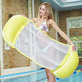 Lemon Pool Floats for Adults,Hamkaw 3 in 1 Multi-Purpose Lounge Chair, Hammock, Drifter - Portable Floating Lounger Compact Rafts Water Hammock for Adults - 220lb Load Bearing with Repair Sticker