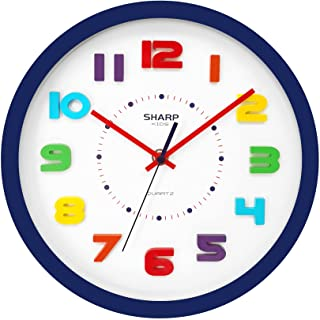 SHARP Colorful Kids Wall Clock 10.6 Inch Silent Non...