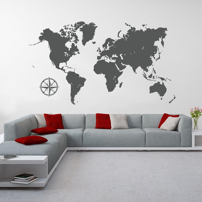 Malango® Wandtattoo Weltkarte Kontinente Wanddesign Wanddekoration Welt World Karte Map Map Map Design Dekoration ca. 120 x 68 cm grau B00XCDQ4C0 6065aa