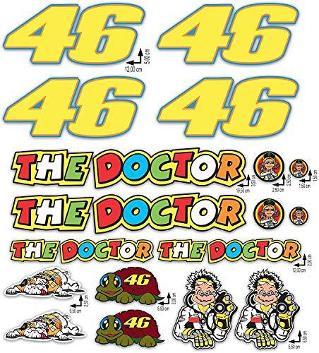 Kit Adesivi Stickers Valentino Rossi The Doctor 46 Logo Pannello Intero 18 pezzi Offerta motorino Moto Casco Motocicletta