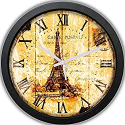 Paris Tower Clock - Paris Tower Postcard Wall Clock Non-ticking - Silent Clock - Vintage Clock - Rustic Clock - 10 Decorative Wall Clock Battery Operated - Contemporary Creative Wall Clock Round