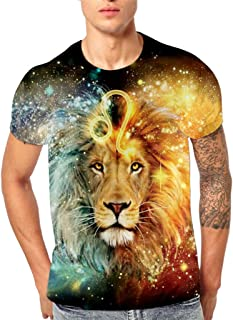 Fxbar,3D Flood Lion Print Men's Tee Shirt Classic Graphic Summer Short-Sleeve T Shirt