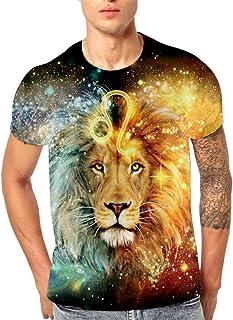 Fxbar,3D Flood Lion Print Men's Tee Shirt Classic Graphic Summer Short-Sleeve T Shirt