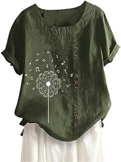 ELECTRI T Shirt Femme Col Rond Mode Casual Coloré LèVres Imprimer Manches Courtes T-Shirt Blouses Tops Grande Taille Tshir...