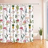 Nyngei Tropische Blumen, Flamingo-Design, Ananas, Kaktus, Duschvorhang, schimmelresistent, Polyesterstoff, mit Haken, 180x 180cm, Grün
