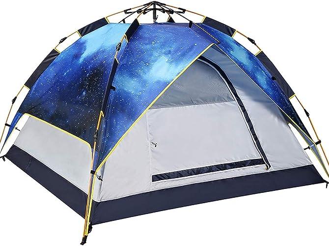 BAOFI Exterieur Jardin Tente de Camping, 3-4 Personne Imperméable Plage Randonnée Légère Anti UV Pliable Etanche Instantanée Pop Up Familiale Tentes Ventilée, Couche Double épaissir
