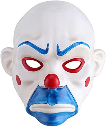Molagogo Resin Joker Bank Robber Mask, Clown Batman The Dark Knight Mask, Halloween Prop